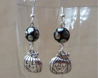 Pumpkins & Polka Dots Handmade Halloween Dangle Earrings, Bright Silver Laughing Jack O'Lanterns, Classic Whimsical Color Smiling Pumpkins