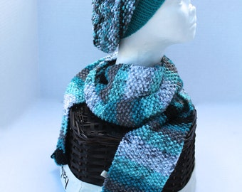 Knit Slouchy Beanie Hat with Scarf - Adult or Teen - Teal multi - Christmas in July SALE - 20 % off until July 31st