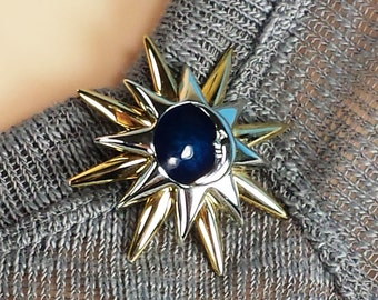 Vintage Liz Claiborne Blue New  Moon Brooch