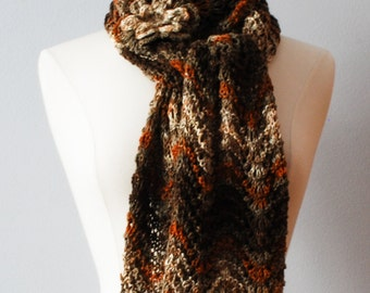 Hand knitted long multicolor fall/winter scarf with flower brooch