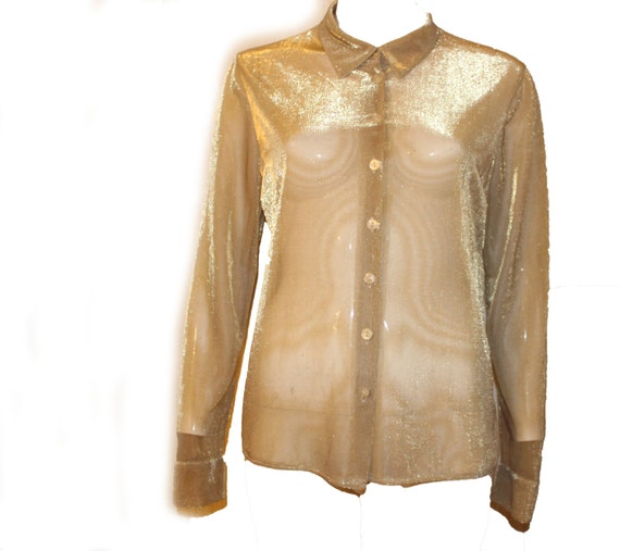 Vintage Sheer Gold Shirt Button up Collared blouse see