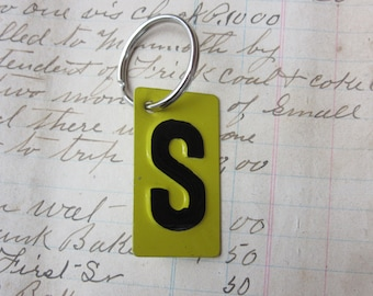 Vintage Metal Letter S Sign Name Initial S Keychain Letter Tag Industrial Sign Black & Yellow Metal Sign Key Chain Fob vtg Upcycled Key Tag