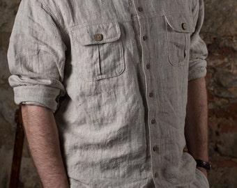 VINTAGE SHIRT in heavy linen. men's collection