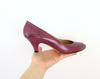 Vintage 1980s Purple Pumps in Leather Size 7 - Womens Heels by Pappagallo