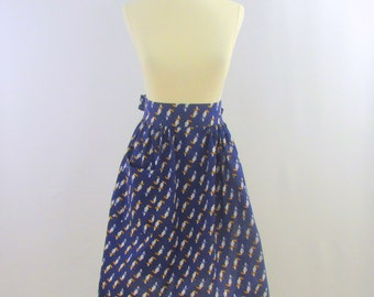 On Sale Vintage 1980s Navy Half Apron with White Bird Print