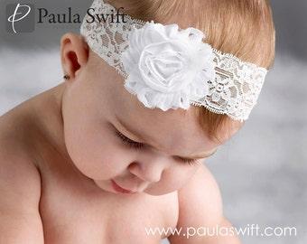 White Lace Baby Headband.  Lace Christening Headband. Baptism Baby Headband. Baby Wedding Headband. Newborn Baptism Headband