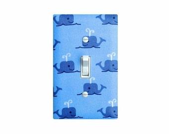Whale Light Switch Plate Cover / Boys Baby Nursery / Preppy Nautical / Light Blue Kids Room Bathroom