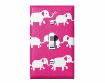 Elephant Light Switch Plate Cover / Hot Pink Baby Girl Nursery Decor / Fuchsia Wall Hanging Lighting