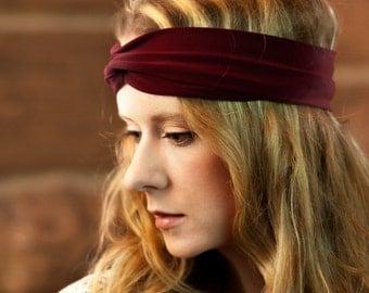 Burgundy Twist Headband, Womens Headband, Turban Adult Headband Front Wrap, Maroon Headband Red Workout Headband Fitness Womens Gift for Her