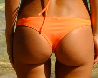 Bright Tangerine Orange Cheeky Bikini Bottoms