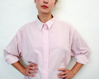 Vintage Tiny Red Polka Dot Long Sleeve Shirt