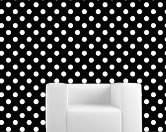 Removable Wallpaper- POLKA DOTS- Peel & Stick Self Adhesive Fabric Temporary Wallpaper-Repositionable-Reusable!