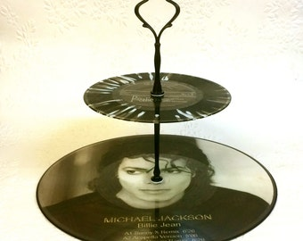 2 tier Picture Vinyl Record Cupcake Cake Stand - Michael Jackson Picture Disc