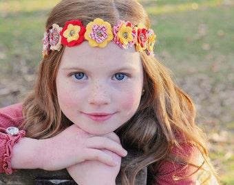 Chloe - Red, White & Yellow Themed Fabric Flower Headband
