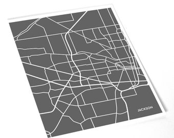 Jackson, MS City Map Art Print / Mississippi Street Map Line Art / 8x10 Digital Print / Choose your color
