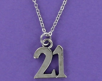 NUMBER 21 Necklace - Pewter Charm on a FREE Plated Chain