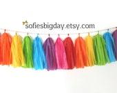 Rainbow Tassel Garland -Rainbow Garland- Tassel Garland -Tissue garland-Rainbow Party- My Little Pony- Unicorn Party- Tissue Tassel Garland