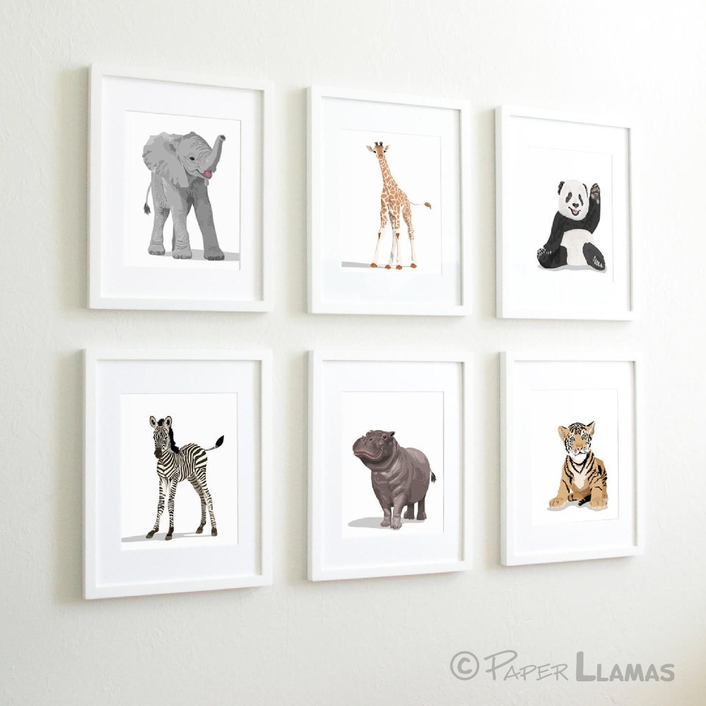 Baby animal nursery art modern minimalist nursery by for Kinderzimmer set baby