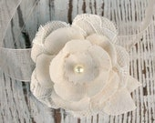 Ivory Fabric Wrist Corsage, Anemone Flower, Wedding Acessory, Black, Cream, Lace Bridal, Mother of the Bride, Groom, Sunnybee
