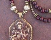 Green Tara Pendant from Nepal Wood Mala Beads Conch Shell Beads Long Bohemian Necklace