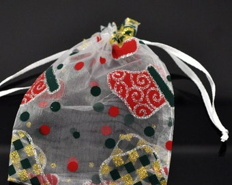 """SALE 25 Christmas Stocking Organza Bags - Draw String Pouches - 70x90mm - 2 3/4"""" x 3 1/2""""  - Ships IMMEDIATELY - BAG28-25"""
