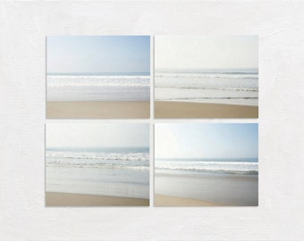 Coastal Photography Set, Ocean Picture Set, Four Photo Set, 4 Print Set, Bathroom Wall Art Set, Beach Photograph Set