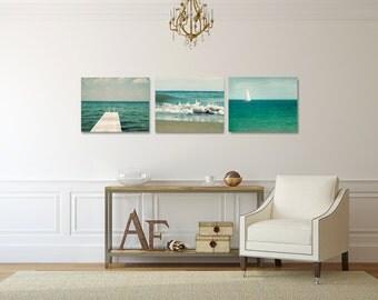 Mint Canvas Art Set, Coastal Wall Decor Set, Lake Canvas Wrap Set, Ocean Photography Canvas, Three Canvas Set, Cottage Chic Picture Set