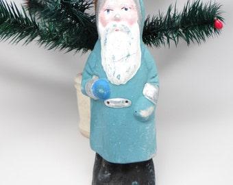 Vintage 8 Inch German Blue Belsnickle Santa for Christmas