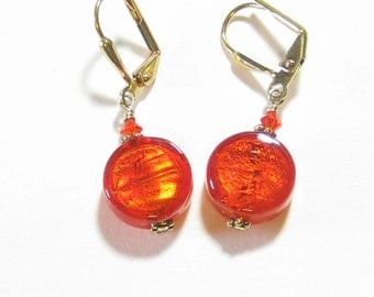 Murano Glass Orange Coin Gold Earrings, Venetian Jewelry, Small Dangle Earrings, Leverback Earrings, Clip On Earrings