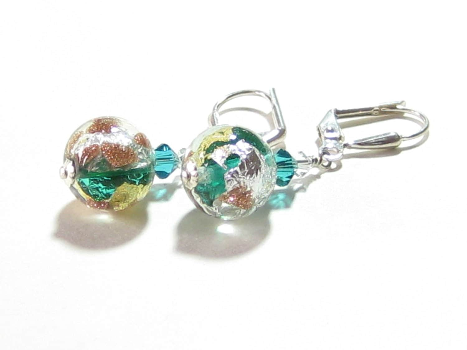 sea green gold silver copper dangle earrings by jkcjewels
