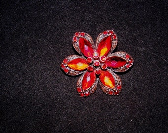 Copper Toned Red Rhinestone Floral Brooch