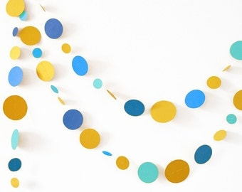 Gold and turquoise garland in cardboard circles - wedding party, baby shower decoration