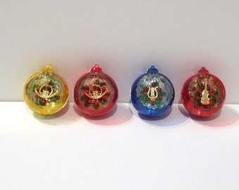 Jewelbrite Diorama Christmas Ornament Set Musical Instruments Vintage 1970s Set of Four Ornaments in Original Box Harp Violin French Horn