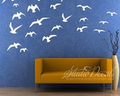 Huge BIRD Decals, REUSABLE Fabric Decal, Nontoxic PVC free Ecofriendly Decal, 681