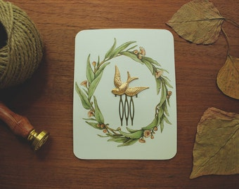brass bird hair comb // Inanna