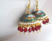 Red Purple Teal White And Gold Enamel Jhumka, Pearl And Crystal Earrings, Jaipur Jhumka,Pearl And Crystal Jhumka