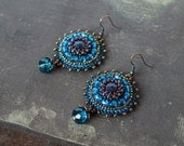 Blue Beadwork Earrings Gold stone Earrings Blue Dangle Earrings Navy blue Copper Earrings Bead embroidery Jewelry Gift for her MADE TO ORDER