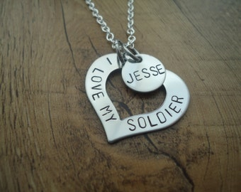 "Personalized Heart ""I Love My Soldier"" Hand Stamped Necklace with Name Charm"