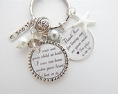 Step Mother Gift Step Mom Charm Necklace  Personalized Wedding Keychain Thank you for loving me as your own Wedding Quote Blended Family