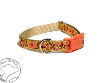 "Autumn in Gold Fall Dog Collar // 1"" (25mm) Wide // Choice of collar style and size // Martingale Dog Collars or Quick Release // Golden"