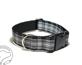 "Menzies Clan Tartan Dog Collar - 1.5"" (38mm) Wide - Black and White Plaid - Martingale or Side Release - Choice of collar style and size"