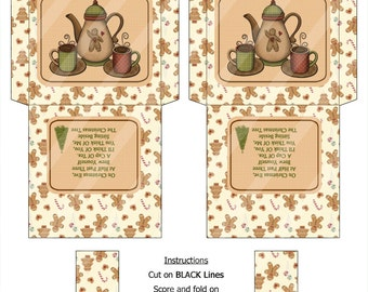 DIY Christmas Tea With Friend Digital Tea Bag Envelope DT001