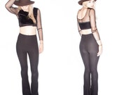 Riding Bells-High Waisted Black Ribbed Stretch Bell Bottom Pants//Flare Pants