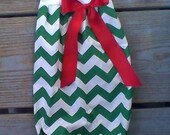 Christmas Baby Gown, Only monogram, chevron baby gown, infant holiday outfit mudan, sz nb-6m green matching sister, Headband sold separately