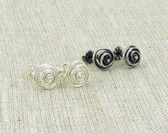 TWO PAIRS Silver Spiral Studs, Sterling Silver Circle Stud Earrings, Modern Jewelry Item E117
