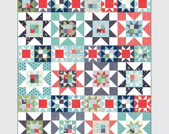 """Night Sky Quilt - Printed Pattern - 64"""" x 80"""" - Thimble Blossoms by Camille Roskelley of Bonnie and Camille"""