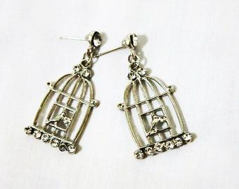 Bird Cage Earrings, Cage Earrings, Bird Earrings, Bird Cage Silver Earrings, Boho Birdcage Earrings, Boho Earrings, Bird Earrings