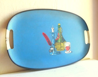 Large Blue Vintage Tray with Handles Barware