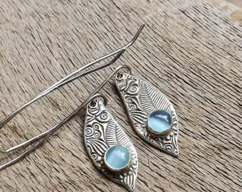 Long Dangling Teardrop Earrings Bright Blue Stone. Textured Metal Clay Jewelry.