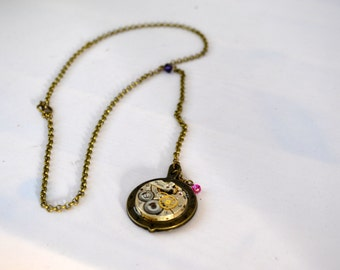 Steampunk vintage watch movement dangling necklace
